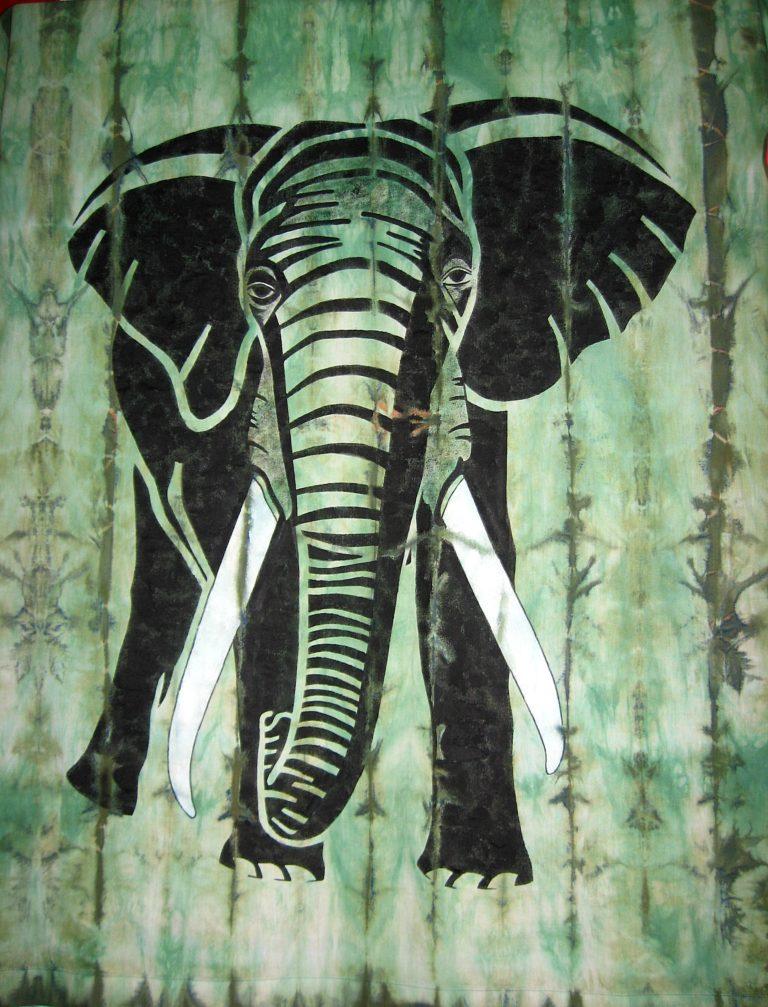Elefant im Garten 120x100cm